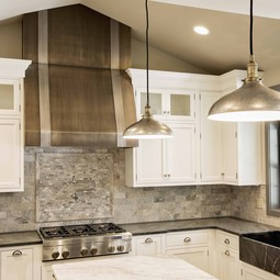 Bronze and White Gold Metal Range Hood in Mohnton, Pennsylvania by Kountry Kraft, Inc.