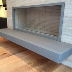 zinc fireplace surround/hearth by Mac Metalworks Inc.
