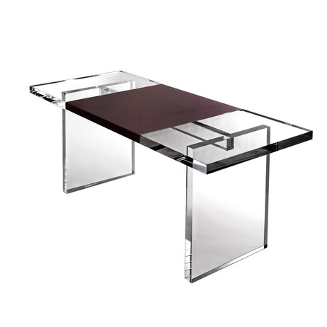 Leather Wrap Desk by Plexi-Craft
