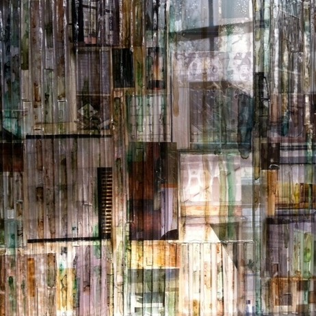 """Urban""2 12x12 triptych Glass and Mixed media by Madonna Phillips"