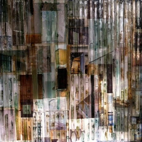 """Urban"" 12x12 triptych Glass and Mixed media by Madonna Phillips"
