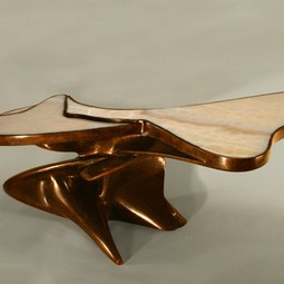 Bronze and Onyx Accent Table by Laran Bronze, Inc.