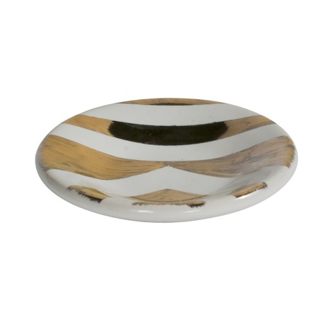 Gold + White tribal Catchall by Paul Schneider Ceramics