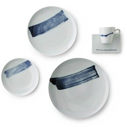 Blue Brush Stroke Plate Set by Spin Ceramics