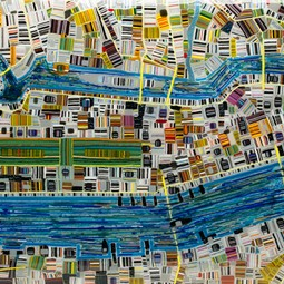 fused glass map of NYC by Renato Foti
