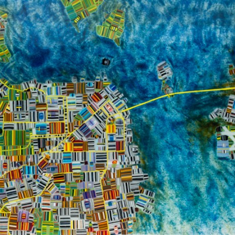 Fused glass map of San Fransisco by Renato Foti