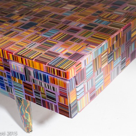 fused glass mosaic table  by Renato Foti