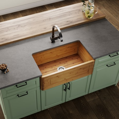 894 Single Bowl Bamboo Apron Sink by MR Direct Sinks and Faucets