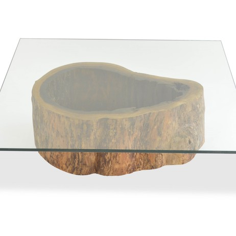 Salvaged Hollow Trunk Coffee Table - Square Glass Top by Rotsen Furniture