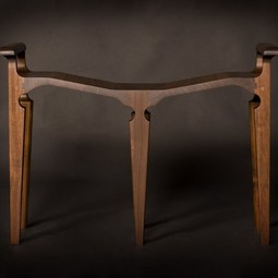 """Flight"" Black walnut wood stool by Doerr Woodworking LTD."