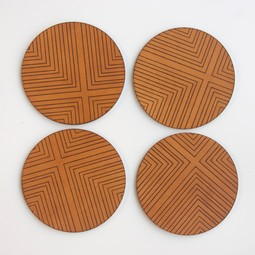 FOUR CORNERS ENGRAVED LEATHER COASTERS - SET OF FOUR by AU RETOUR
