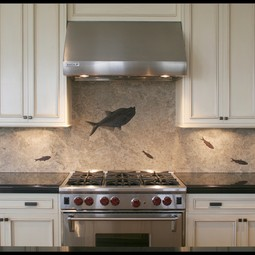 Fossil Stone Backsplash by Green River Stone Company