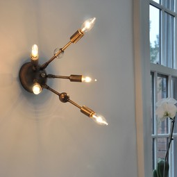 AXIS 5 ARM WALL SCONCE WITH VINTAGE GLASS JEWELRY by Michelle James NYC