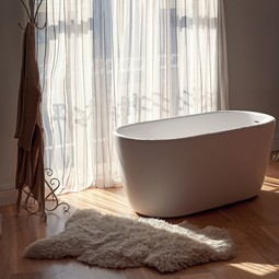 Lullaby Mini White Freestanding Solid Surface Bathtub by Aquatica