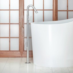 Colonna floor-mounted tub filler by Aquatica