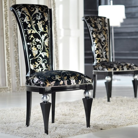 black velvet upholstered wood chair by The Chair Market