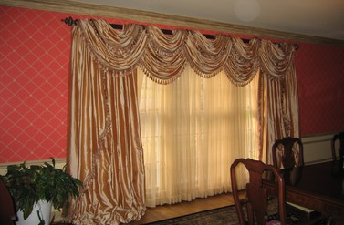 Double layer swags & side panels - Cord & Pleat Design, Inc.