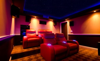 Florida home theater with night sky mural ceiling